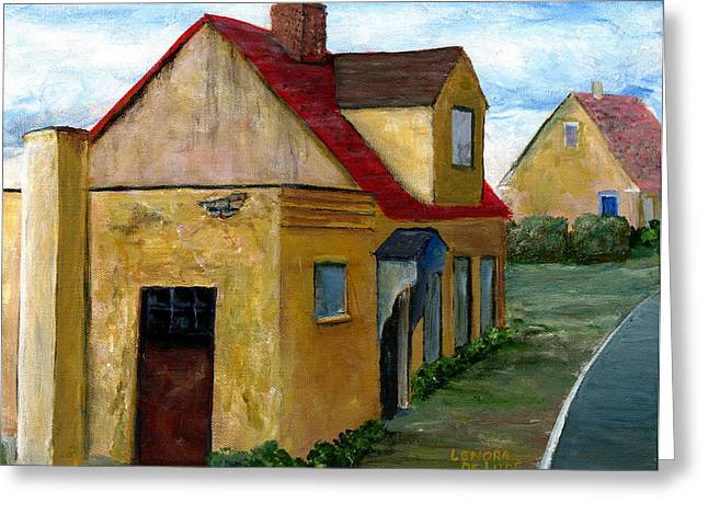 Greeting Card featuring the painting Street View In Zealand by Lenora  De Lude