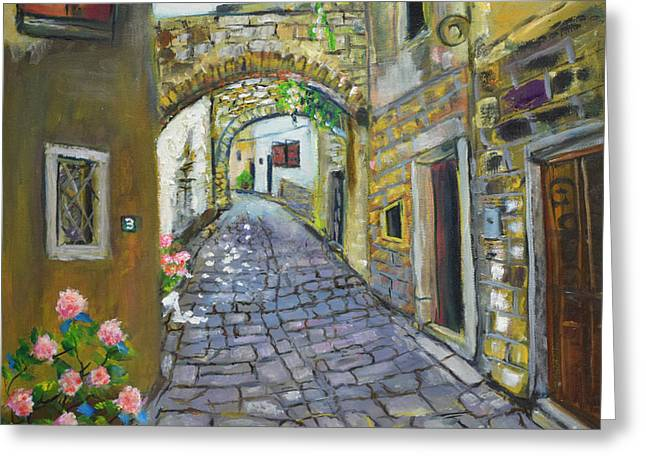 Street View In Pula Greeting Card
