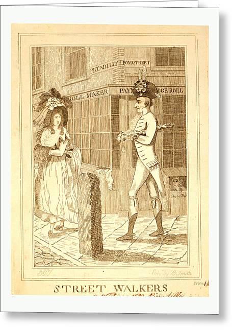 Street Walkers, En Sanguine Engraving 1786, A Well Dressed Greeting Card by English School