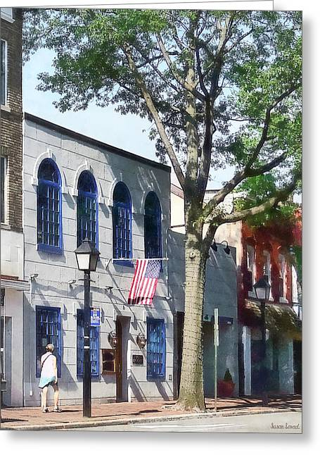 Alexandria Va - Street With American Flag Greeting Card by Susan Savad