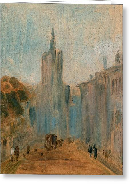 Street With Church And Figures, Unknown Artist Greeting Card by Litz Collection