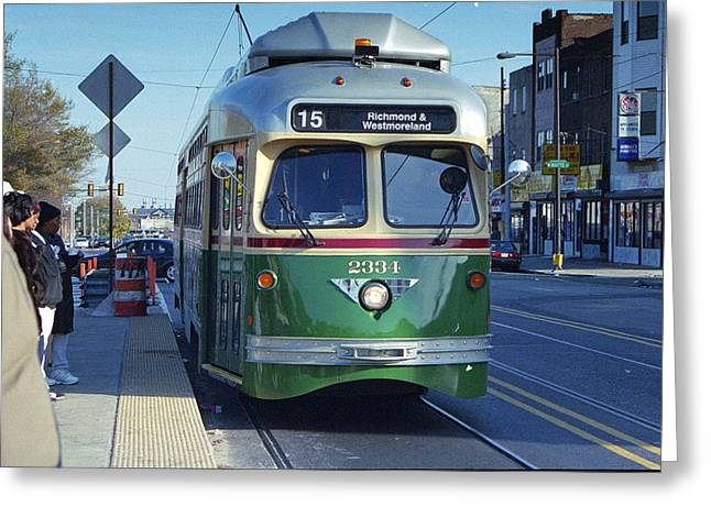 Streetcar In Philadelphia Greeting Card by Eric Miller