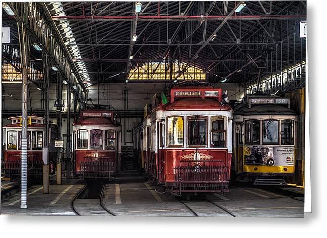 Streetcars II Greeting Card by Marco Oliveira