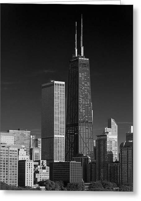Streeterville Chicago Illinois B W Greeting Card by Steve Gadomski
