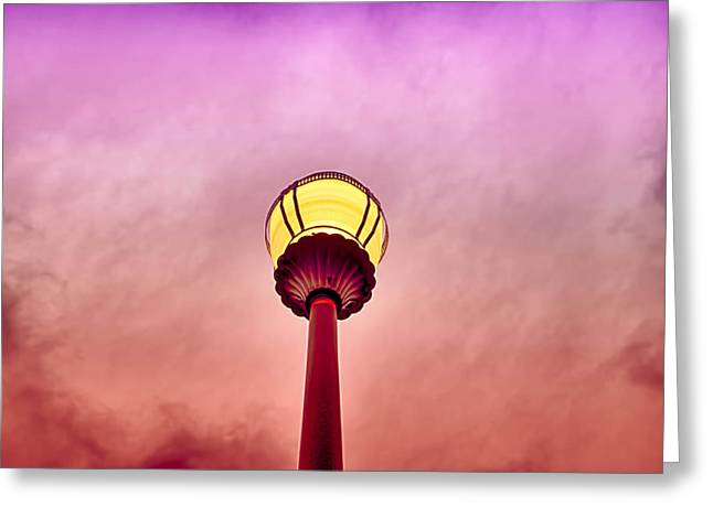 Streetlight And Clouds Greeting Card by J Riley Johnson