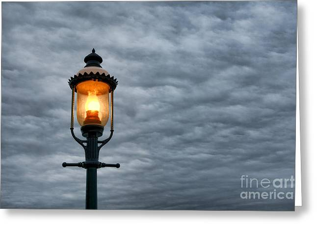 Streetlight Greeting Card by Olivier Le Queinec