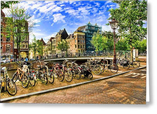 Streets Of Amsterdam Greeting Card by Brent Durken