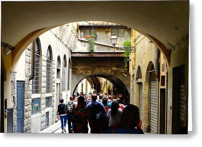 Streets Of Florence Greeting Card by Alan Lakin