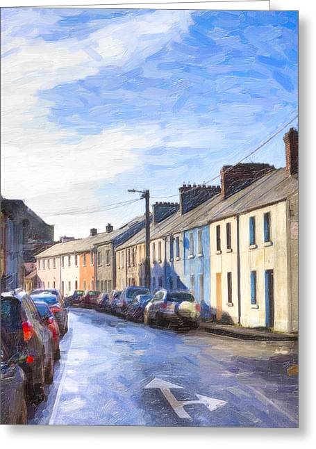 Streets Of Galway On A Winter Morn Greeting Card by Mark E Tisdale