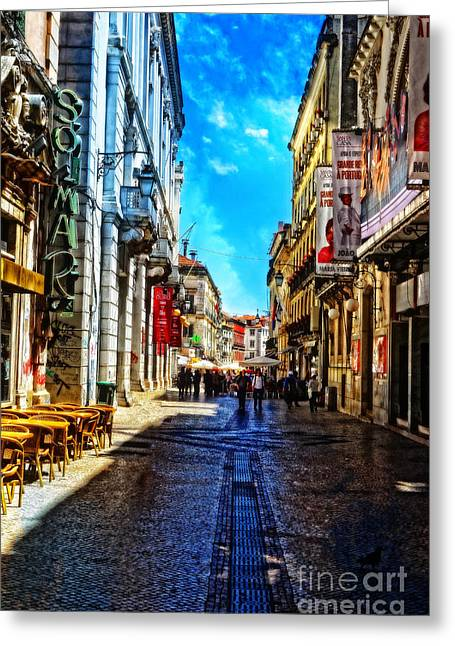 Streets Of Lisbon 1 Greeting Card by Mary Machare