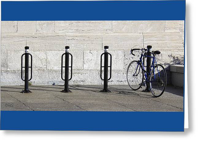Streets Of Montreal - Blue Bike Greeting Card by Ben and Raisa Gertsberg
