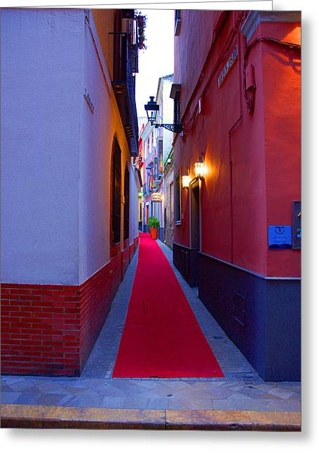 Streets Of Seville - Red Carpet  Greeting Card by Andrea Mazzocchetti