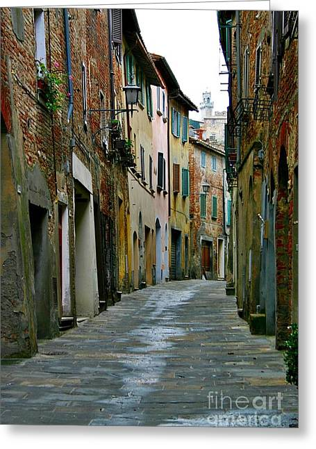 Streetscape Tuscany Greeting Card by Henry Kowalski