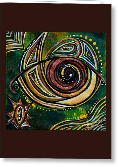 Greeting Card featuring the painting Strength Spirit Eye by Deborha Kerr