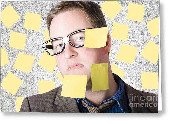 Stressed Businessman Multitasking Huge Agenda Greeting Card