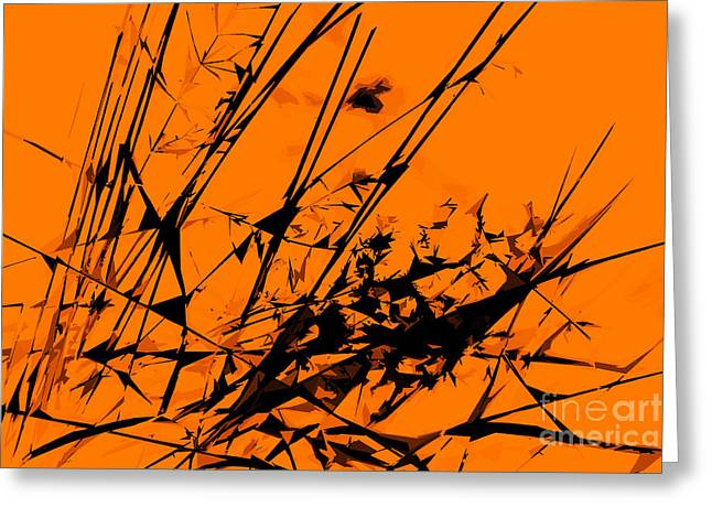 Strike Out Orange And Black Abstract Greeting Card by Natalie Kinnear