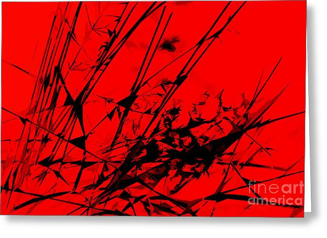 Strike Out Red And Black Abstract Greeting Card by Natalie Kinnear