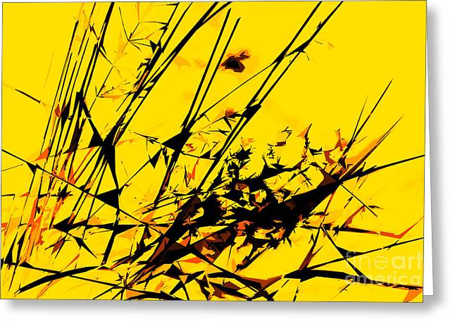 Strike Out Yellow And Black Abstract Greeting Card by Natalie Kinnear
