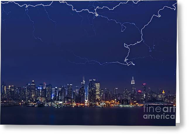 Strikes And Bolts In Nyc Greeting Card by Susan Candelario