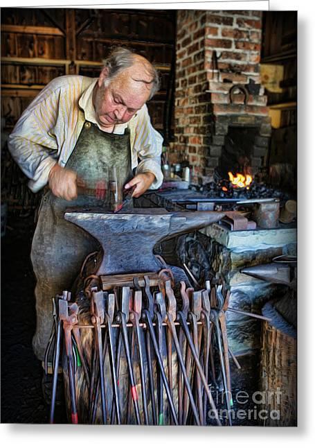 Striking The Anvil - Blacksmith Greeting Card by Lee Dos Santos