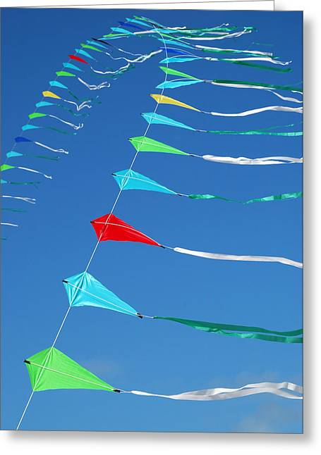 Greeting Card featuring the photograph String Of Kites by Rob Huntley