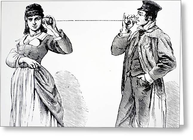 String Telephone Greeting Card by Universal History Archive/uig
