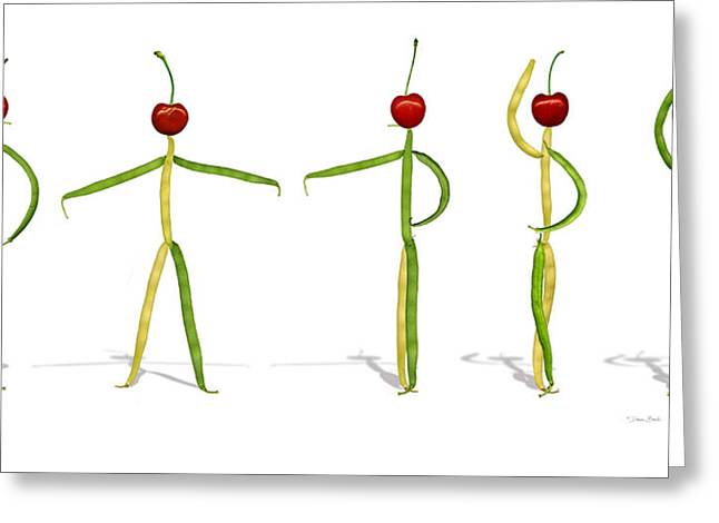 Stringbean Cherries Five Ballet Positions  Greeting Card by Donna Basile