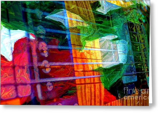 Strings And Things Digital Guitar Art By Steven Langston Greeting Card by Steven Lebron Langston