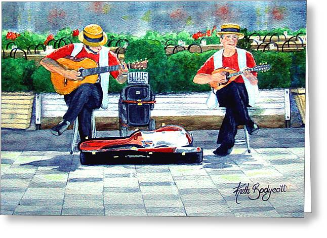 Strings At The Sidewalk Cafe Greeting Card by Ruth Bodycott