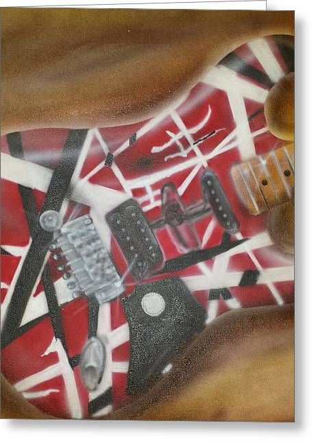 Striped Guitar Greeting Card by Phillip Whitehead