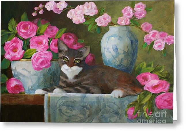 Striped Kitten With Pink Roses Greeting Card by Sue Cervenka