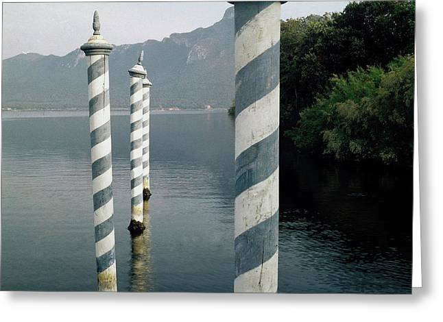 Striped Posts In The Grand Canal Greeting Card by Leombruno-Bodi