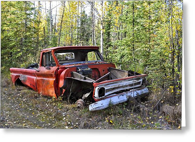 Greeting Card featuring the photograph Stripped Chevy by Cathy Mahnke