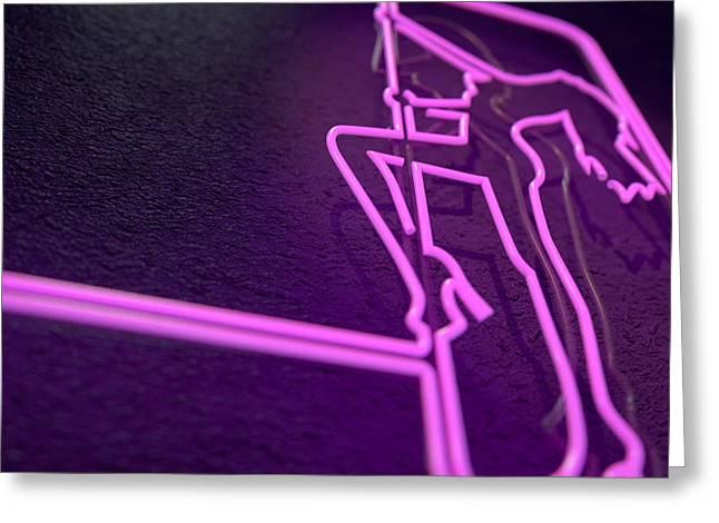 Stripper Sign Greeting Card by Allan Swart