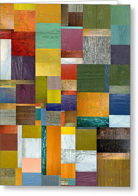 Strips And Pieces V Greeting Card by Michelle Calkins
