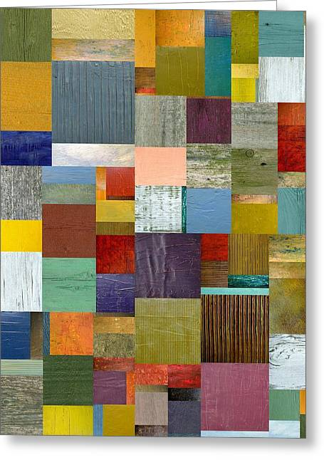 Strips And Pieces Vl Greeting Card by Michelle Calkins