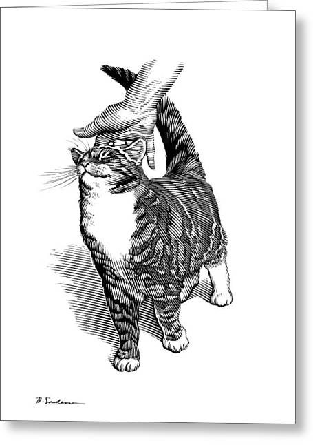 Stroking A Cat's Head, Artwork Greeting Card