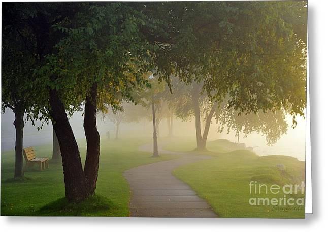 Stroll In The Fog Greeting Card by Terri Gostola