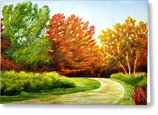 Greeting Card featuring the painting Stroll Into Autumn by Thomas Kuchenbecker