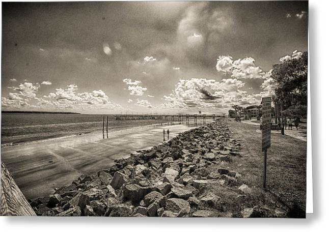 Stroll On The Beach Greeting Card by J Riley Johnson
