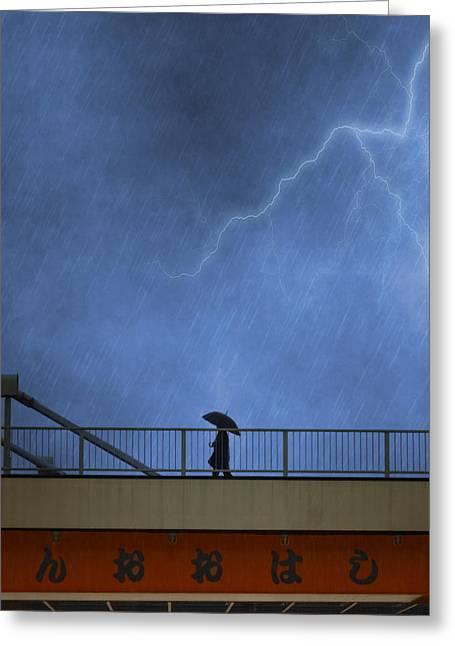 Strolling In The Rain Greeting Card by Juli Scalzi