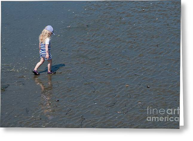 Strolling On The Beach Greeting Card by Malu Couttolenc