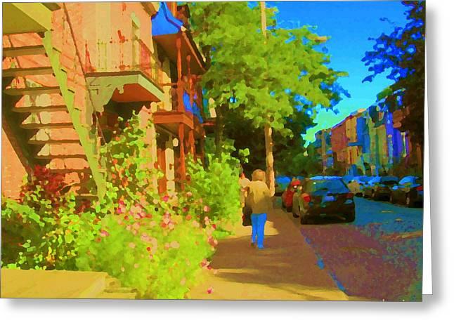 Strolling Sunny Summer Streets Staircase Scene Sleepy Neighborhoods Art Of Montreal Carole Spandau  Greeting Card by Carole Spandau
