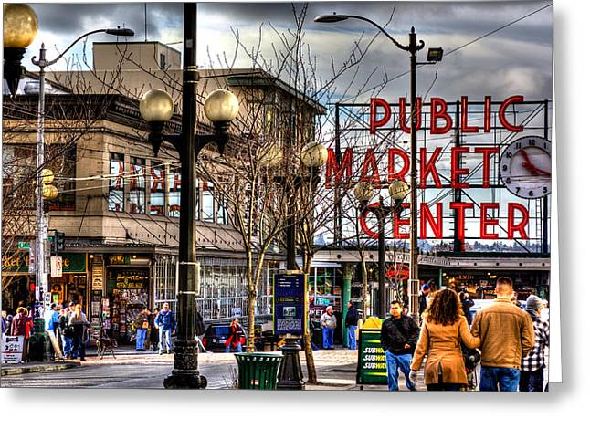 Strolling Towards The Market - Seattle Washington Greeting Card by David Patterson