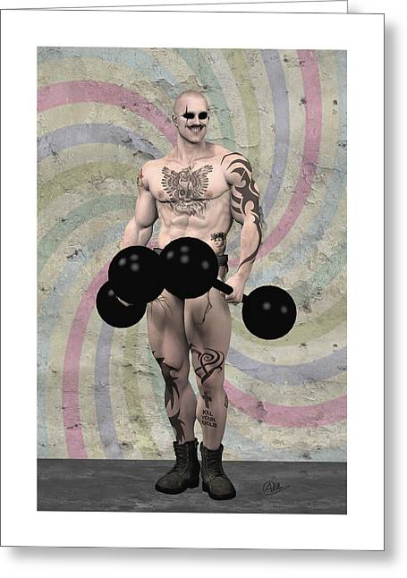 Strongest Man Skinhead  Greeting Card by Quim Abella