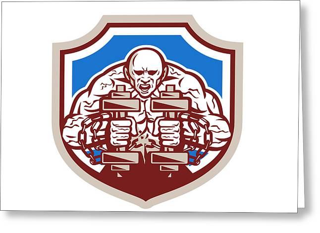 Strongman Lifting Dumbbells Shield Retro Greeting Card by Aloysius Patrimonio