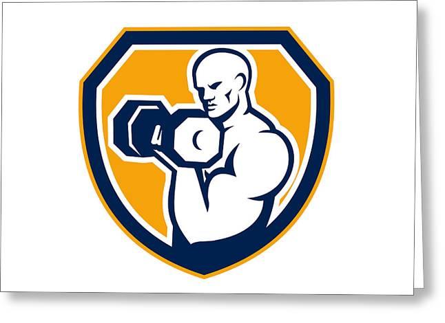 Strongman Pumping Dumbbells Shield Retro Greeting Card by Aloysius Patrimonio