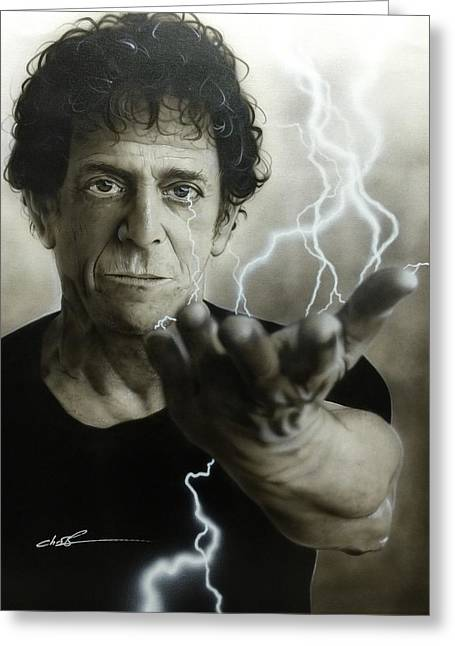Lou Reed - ' Struck By The Power And The Glory ' Greeting Card by Christian Chapman Art