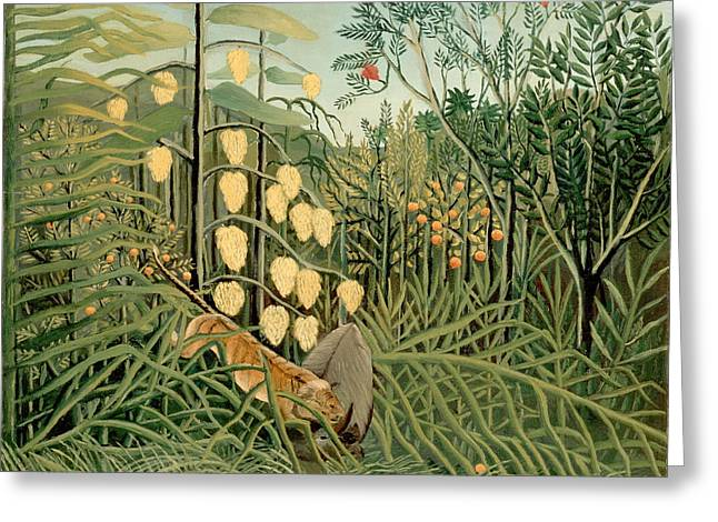 Struggle Between Tiger And Bull Greeting Card by Henri Rousseau