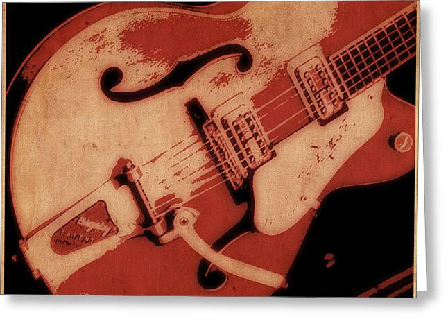 Strum In Red Greeting Card by Tilly Williams